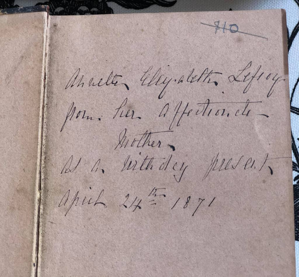 Title page of Monthly Packet (published 1855) inscribed 'Annette Elizabeth Lefroy from her affectionate brother, as a birthday present, April 24th 1871.