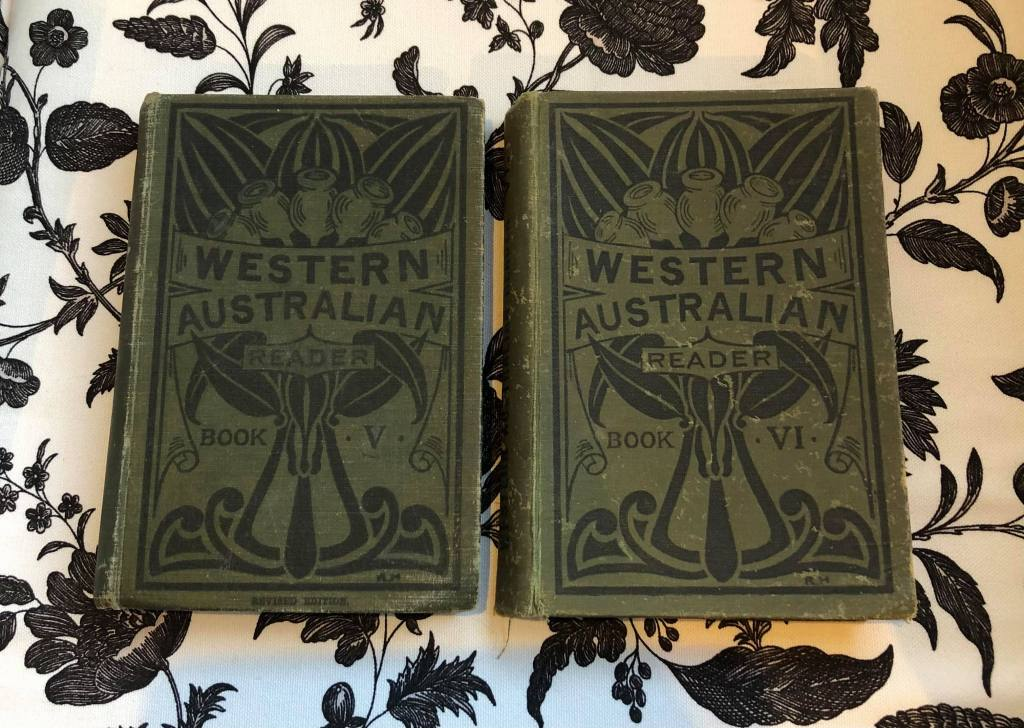 Two olive green, cloth covered books. Titled Western Australian Reader. Books V and VI. Published by the Western Australia Department of Education. Vintage books published 1932 and 1945.